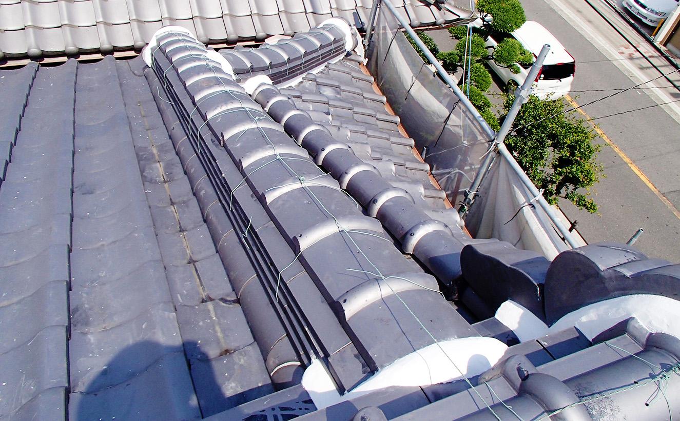 大阪市屋根瓦の補修工事