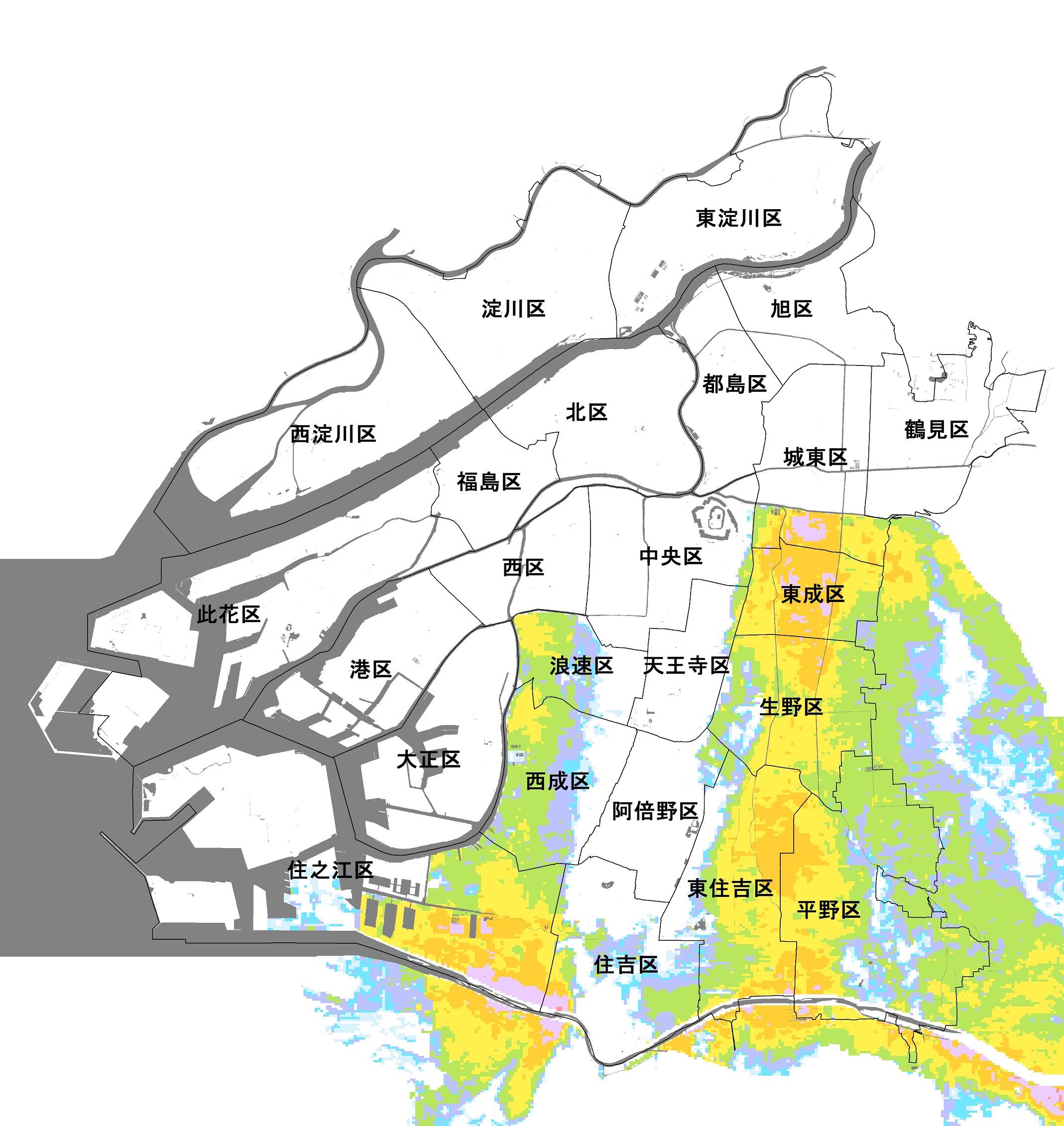 大阪市(大和川・東除川の氾濫)のハザードマップ