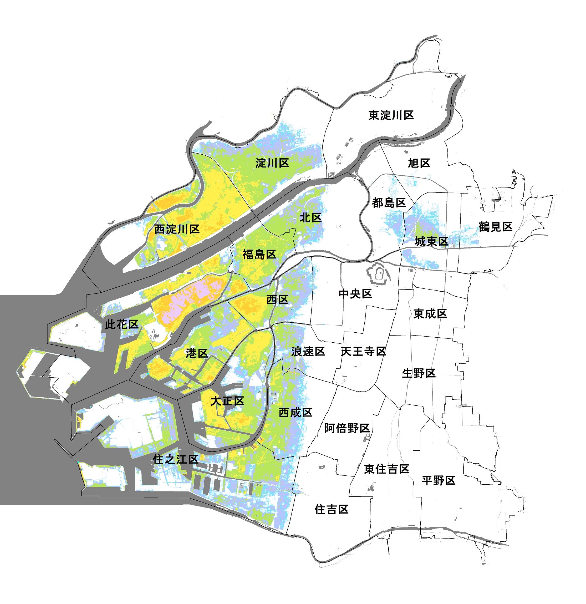 大阪市南海トラフ巨大地震による津波のハザードマップ