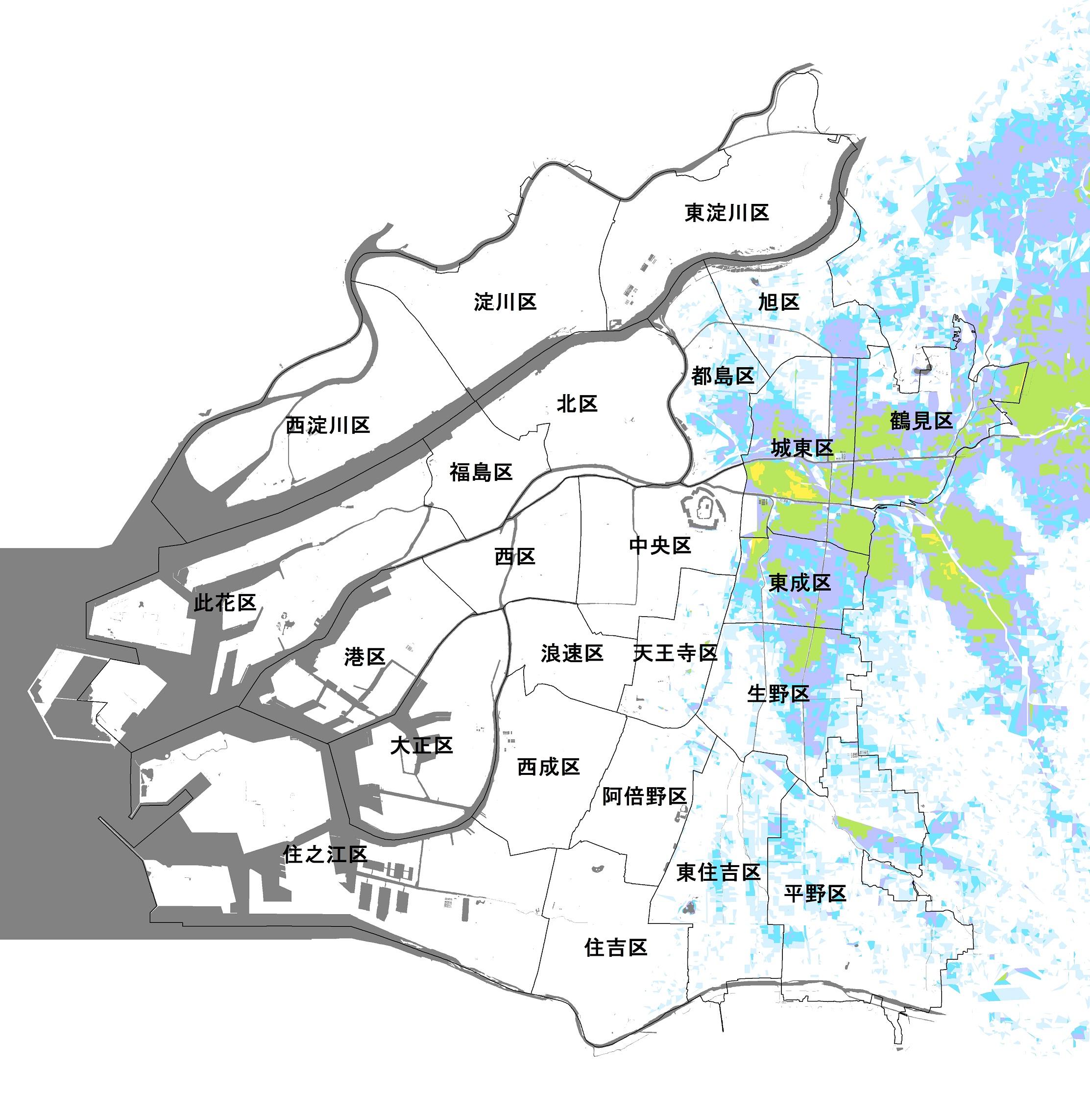 大阪市(寝屋川・第二寝屋川・平野川の氾濫)のハザードマップ