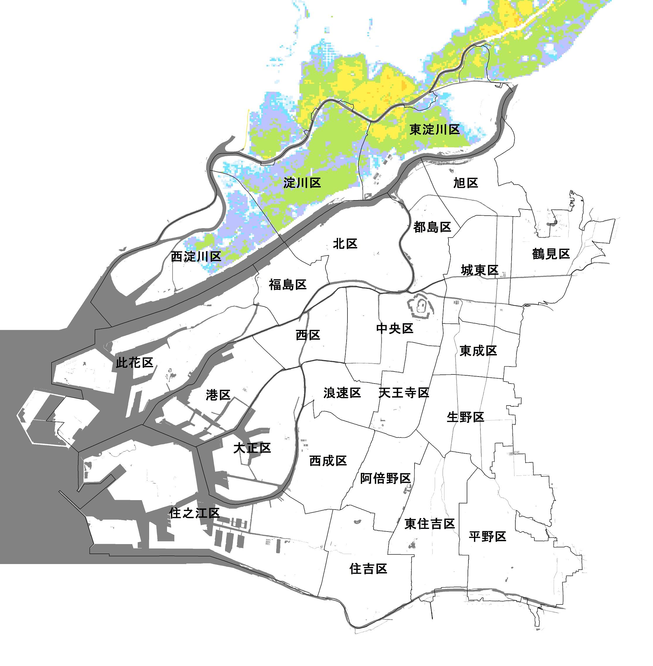大阪市(神崎川・安威川の氾濫)のハザードマップ