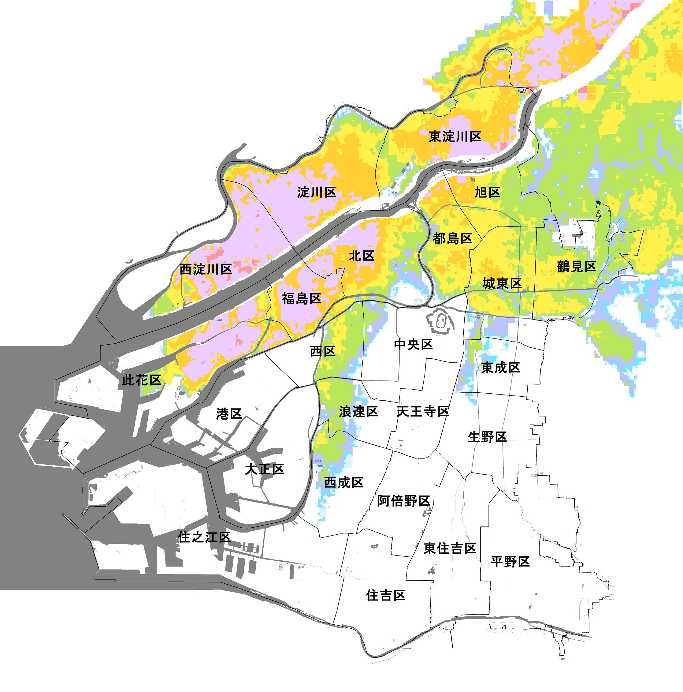 大阪市(淀川の氾濫)のハザードマップ