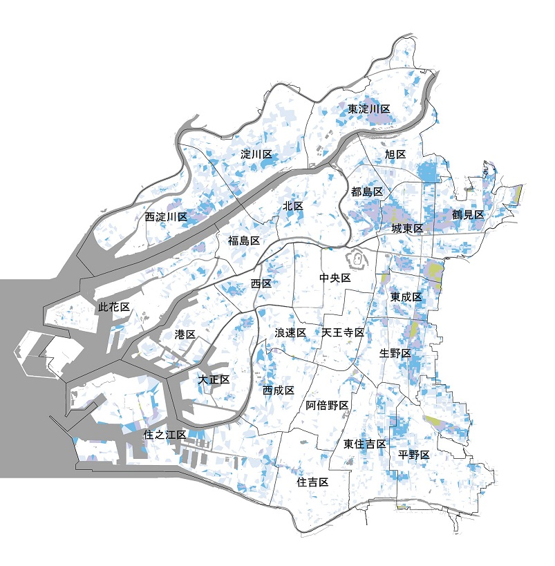 大阪市内水の氾濫のハザードマップ